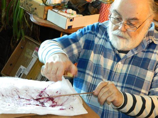 Michael Bertiaux at Work in his studio.